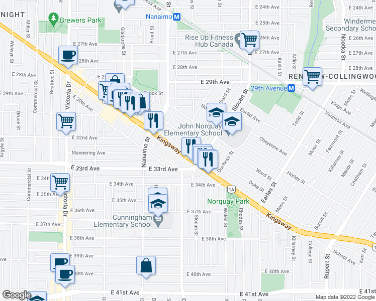 map of restaurants, bars, coffee shops, grocery stores, and more near 4893 Clarendon Street in Vancouver