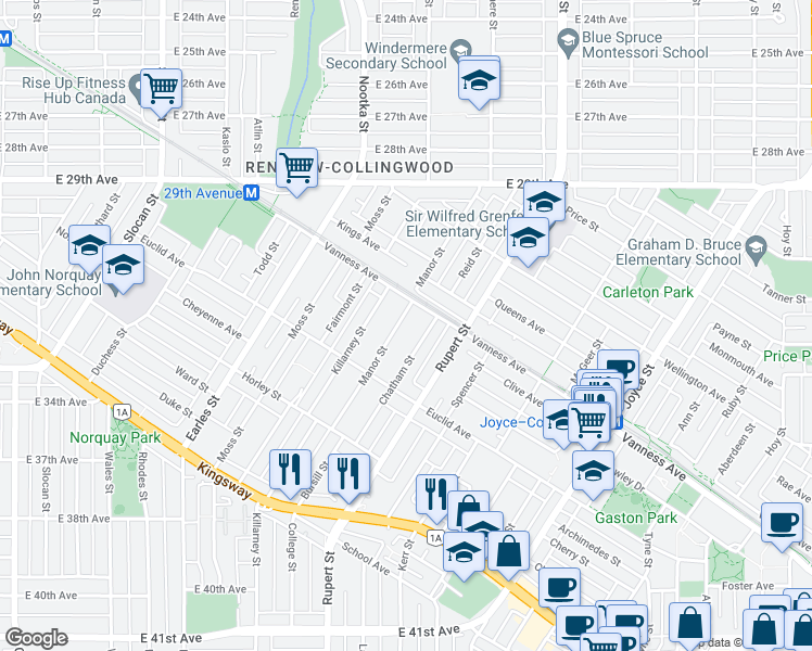 map of restaurants, bars, coffee shops, grocery stores, and more near 4862 Manor Street in Vancouver