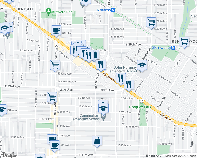 map of restaurants, bars, coffee shops, grocery stores, and more near 4888 Nanaimo Street in Vancouver