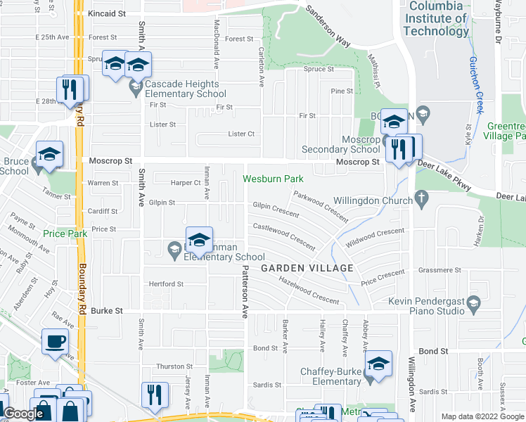 map of restaurants, bars, coffee shops, grocery stores, and more near 4136 Gilpin Crescent in Burnaby