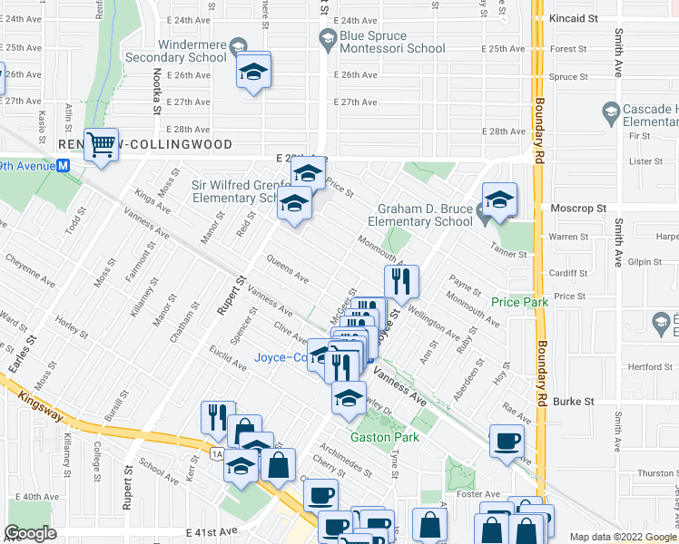 map of restaurants, bars, coffee shops, grocery stores, and more near 3402 Wellington Avenue in Vancouver