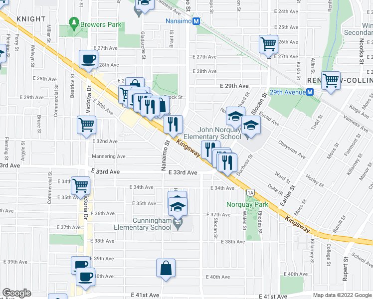 map of restaurants, bars, coffee shops, grocery stores, and more near 2388 Kingsway in Vancouver