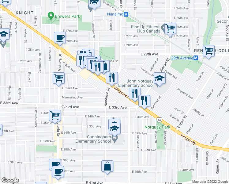 map of restaurants, bars, coffee shops, grocery stores, and more near 4818 Eldorado Mews in Vancouver