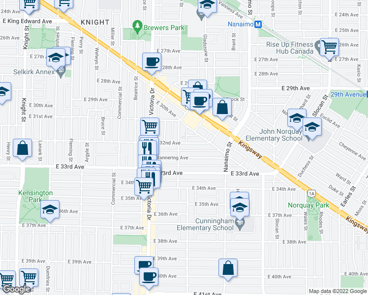 map of restaurants, bars, coffee shops, grocery stores, and more near 2118 East 32nd Avenue in Vancouver
