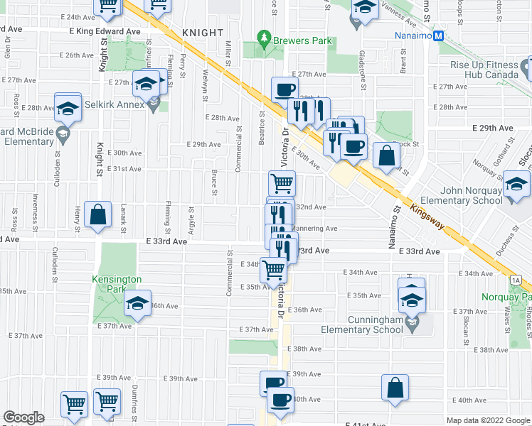 map of restaurants, bars, coffee shops, grocery stores, and more near 4810 Beatrice Street in Vancouver