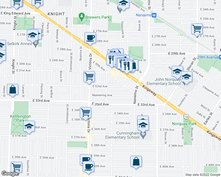 map of restaurants, bars, coffee shops, grocery stores, and more near 2122 East 32nd Avenue in Vancouver