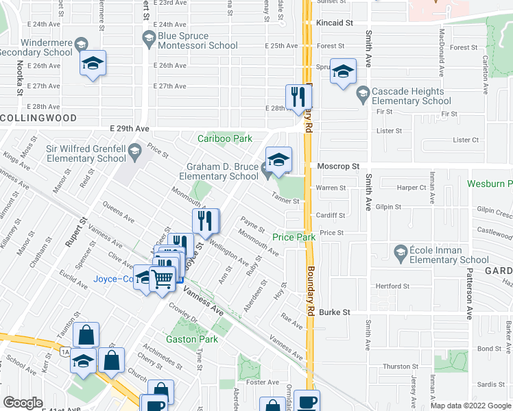 map of restaurants, bars, coffee shops, grocery stores, and more near 3555 Price Street in Vancouver
