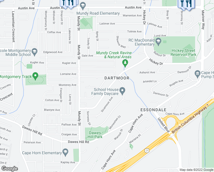 map of restaurants, bars, coffee shops, grocery stores, and more near 2261 Leclair Drive in Coquitlam