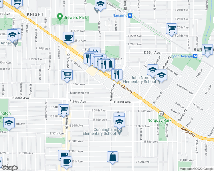 map of restaurants, bars, coffee shops, grocery stores, and more near 2299 East 30th Avenue in Vancouver