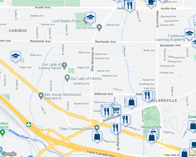 map of restaurants, bars, coffee shops, grocery stores, and more near 910 Delestre Avenue in Coquitlam