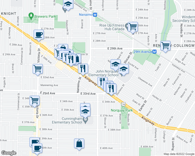 map of restaurants, bars, coffee shops, grocery stores, and more near 2466 Galt Street in Vancouver