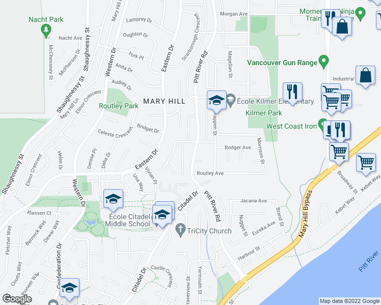 map of restaurants, bars, coffee shops, grocery stores, and more near 1470 Pitt River Road in Port Coquitlam