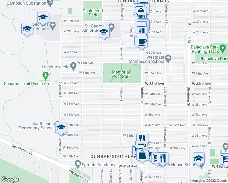 map of restaurants, bars, coffee shops, grocery stores, and more near 3837 West 34th Avenue in Vancouver