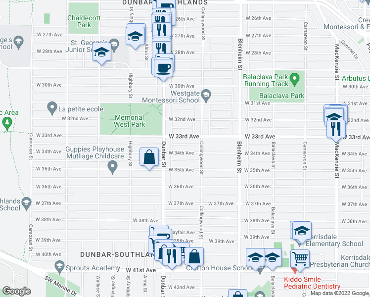 map of restaurants, bars, coffee shops, grocery stores, and more near 3545 West 34th Avenue in Vancouver