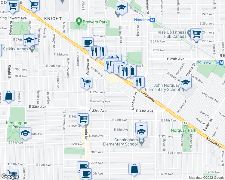 map of restaurants, bars, coffee shops, grocery stores, and more near 2149 East 32nd Avenue in Vancouver