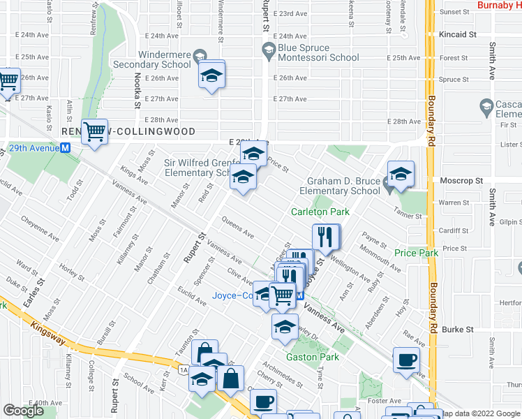 map of restaurants, bars, coffee shops, grocery stores, and more near 3359 Wellington Avenue in Vancouver