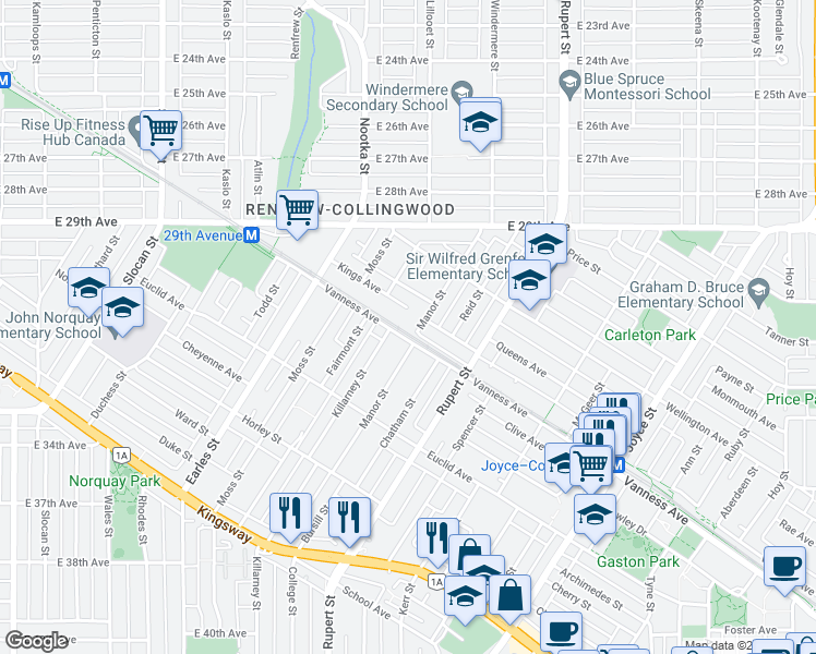 map of restaurants, bars, coffee shops, grocery stores, and more near 4789 Manor Street in Vancouver