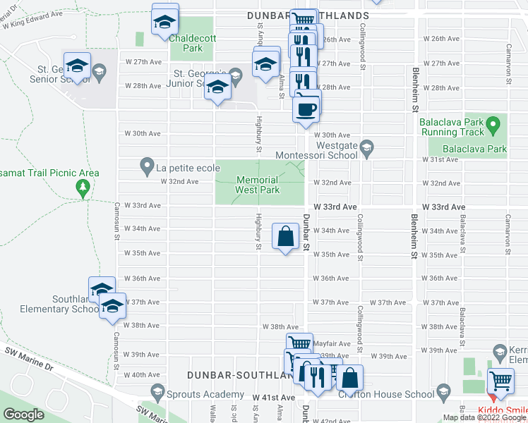 map of restaurants, bars, coffee shops, grocery stores, and more near 3792 West 33rd Avenue in Vancouver