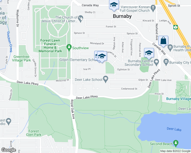 map of restaurants, bars, coffee shops, grocery stores, and more near 5439 Gilpin Street in Burnaby
