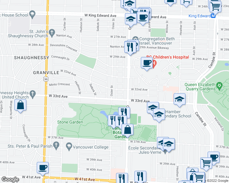 map of restaurants, bars, coffee shops, grocery stores, and more near 4810 Osler Street in Vancouver
