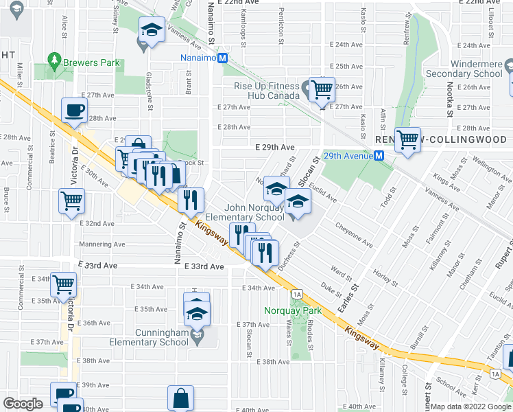 map of restaurants, bars, coffee shops, grocery stores, and more near 4739 Gothard Street in Vancouver