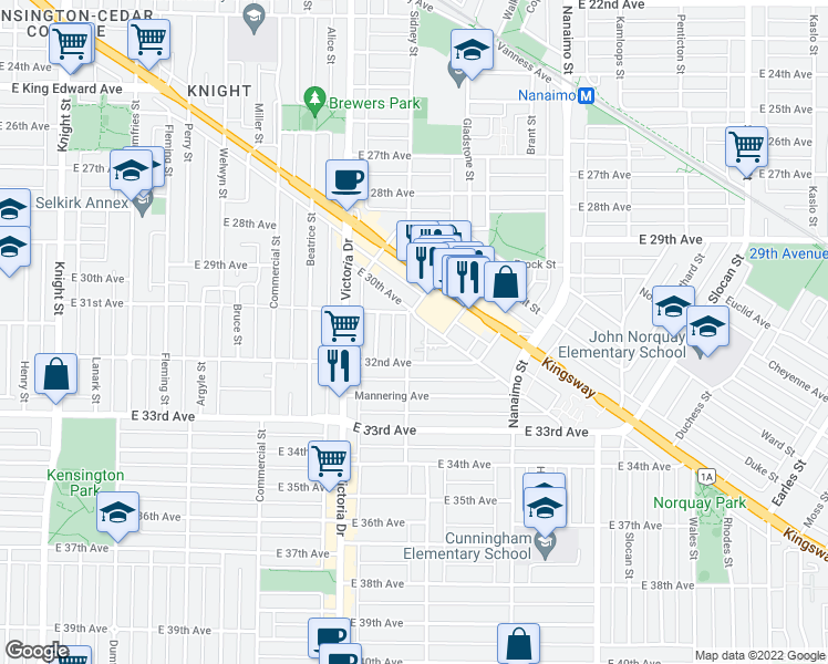 map of restaurants, bars, coffee shops, grocery stores, and more near 4748 Gladstone Street in Vancouver