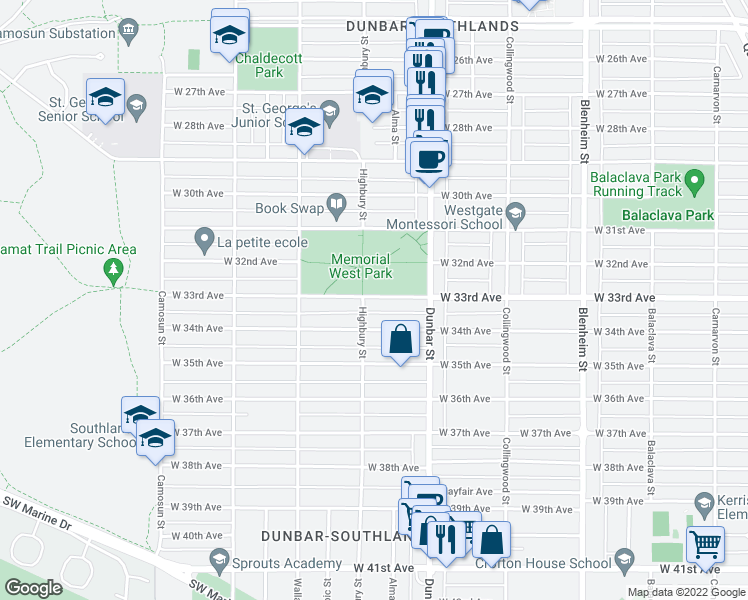 map of restaurants, bars, coffee shops, grocery stores, and more near 3776 West 33rd Avenue in Vancouver