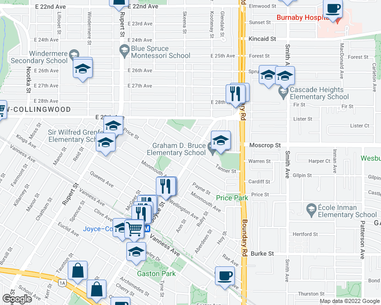 map of restaurants, bars, coffee shops, grocery stores, and more near 3588 Tanner Street in Vancouver