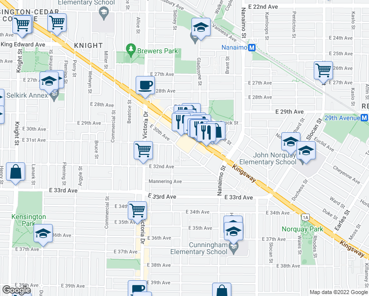 map of restaurants, bars, coffee shops, grocery stores, and more near 2221 East 30th Avenue in Vancouver