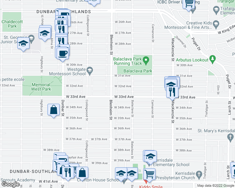 map of restaurants, bars, coffee shops, grocery stores, and more near 3287 West 33rd Avenue in Vancouver