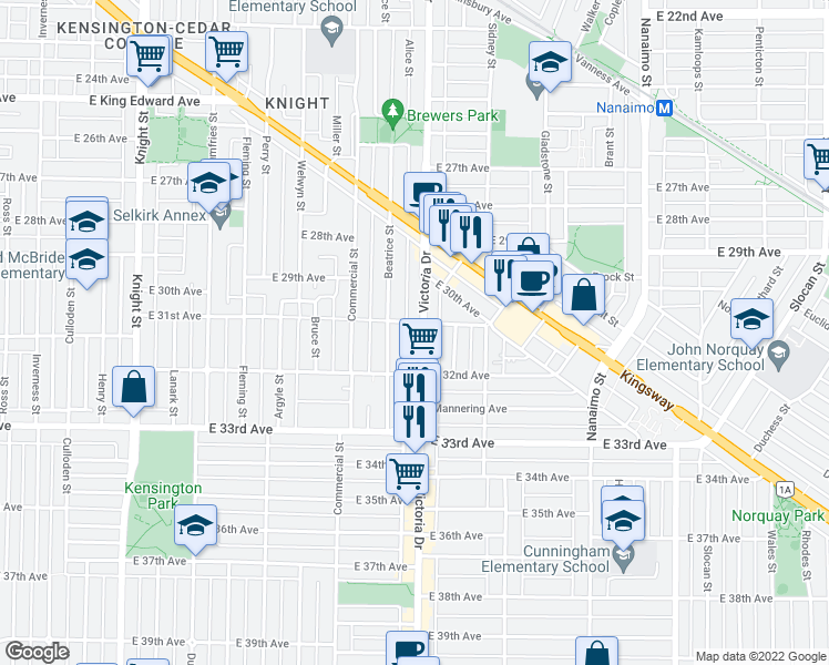 map of restaurants, bars, coffee shops, grocery stores, and more near 4723 Victoria Drive in Vancouver