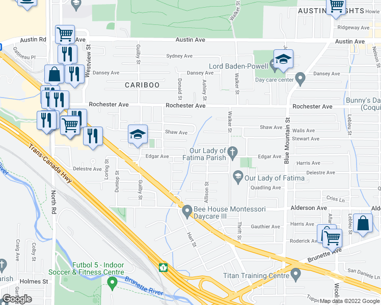 map of restaurants, bars, coffee shops, grocery stores, and more near 715 Edgar Avenue in Coquitlam