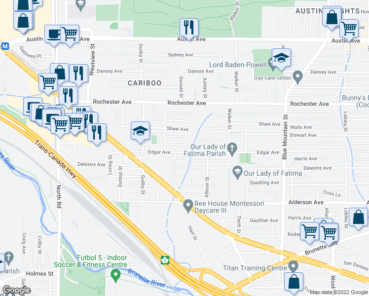 map of restaurants, bars, coffee shops, grocery stores, and more near 711 Edgar Avenue in Coquitlam