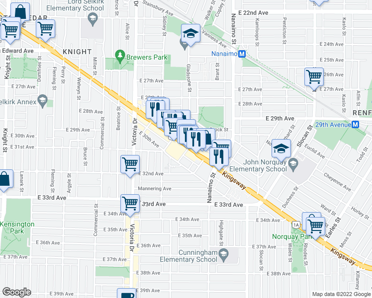 map of restaurants, bars, coffee shops, grocery stores, and more near 2220 Kingsway in Vancouver