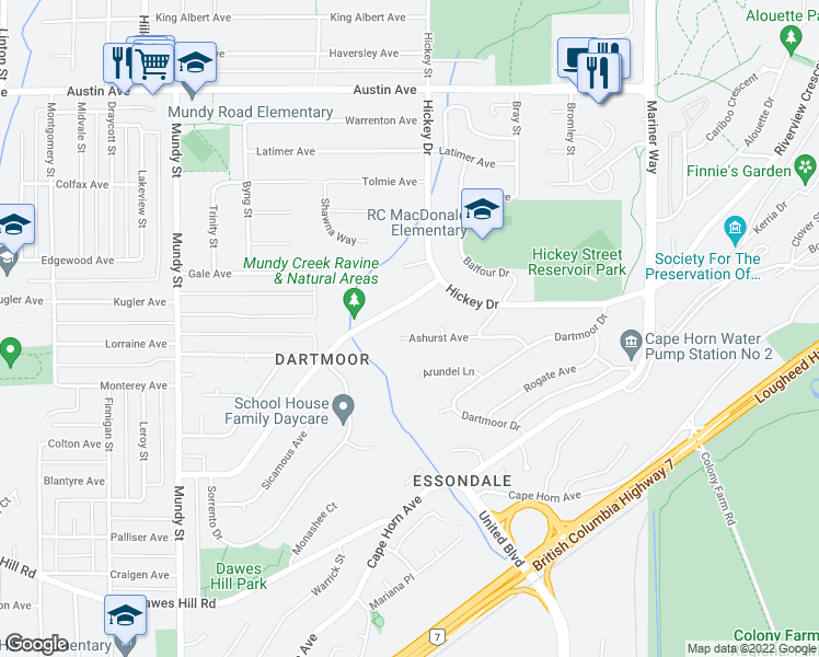 map of restaurants, bars, coffee shops, grocery stores, and more near 2509 Ashurst Avenue in Coquitlam