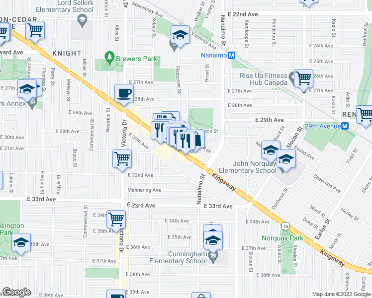 map of restaurants, bars, coffee shops, grocery stores, and more near 2239 Kingsway in Vancouver