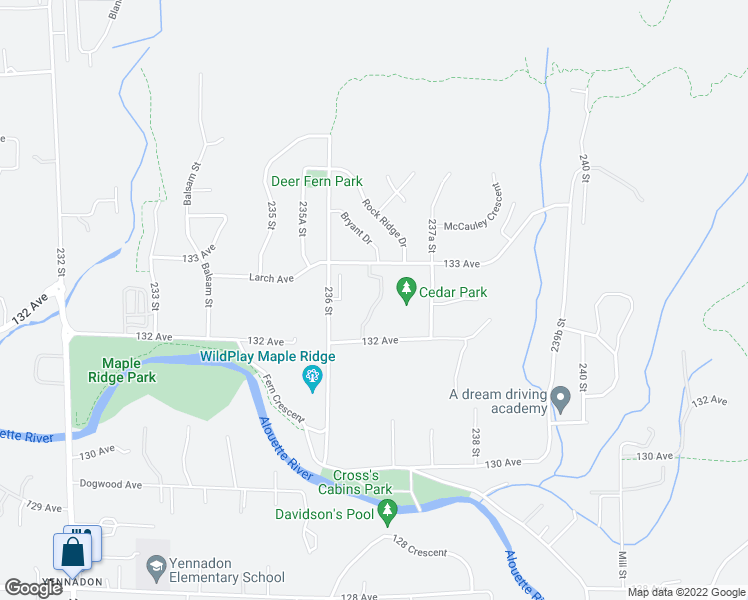 map of restaurants, bars, coffee shops, grocery stores, and more near 23651 132 Avenue in Maple Ridge