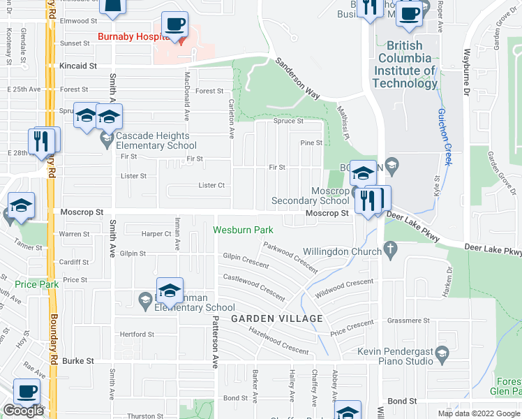 map of restaurants, bars, coffee shops, grocery stores, and more near 4211 Moscrop Street in Burnaby