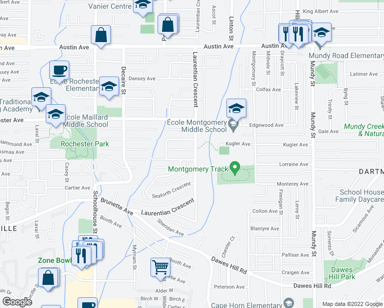 map of restaurants, bars, coffee shops, grocery stores, and more near 378 Laurentian Crescent in Coquitlam