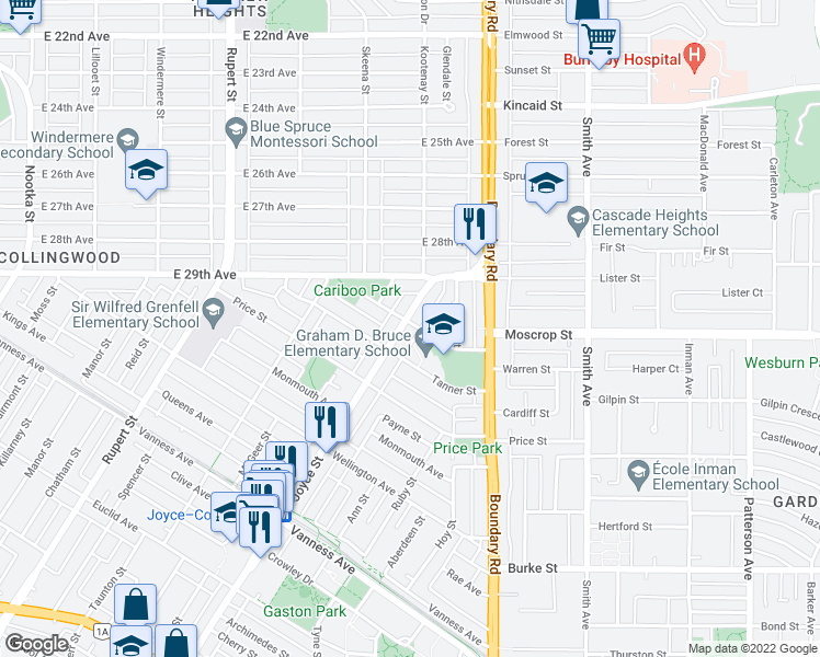map of restaurants, bars, coffee shops, grocery stores, and more near 4608 Joyce Street in Vancouver