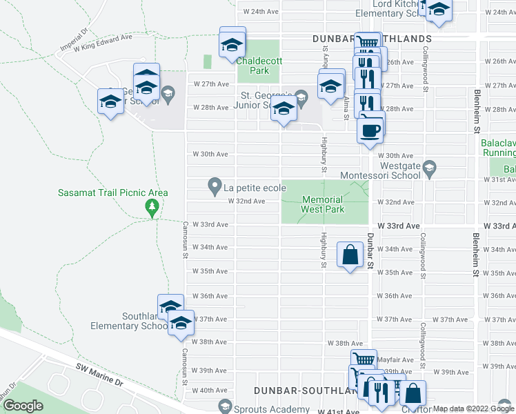 map of restaurants, bars, coffee shops, grocery stores, and more near 3948 West 32nd Avenue in Vancouver