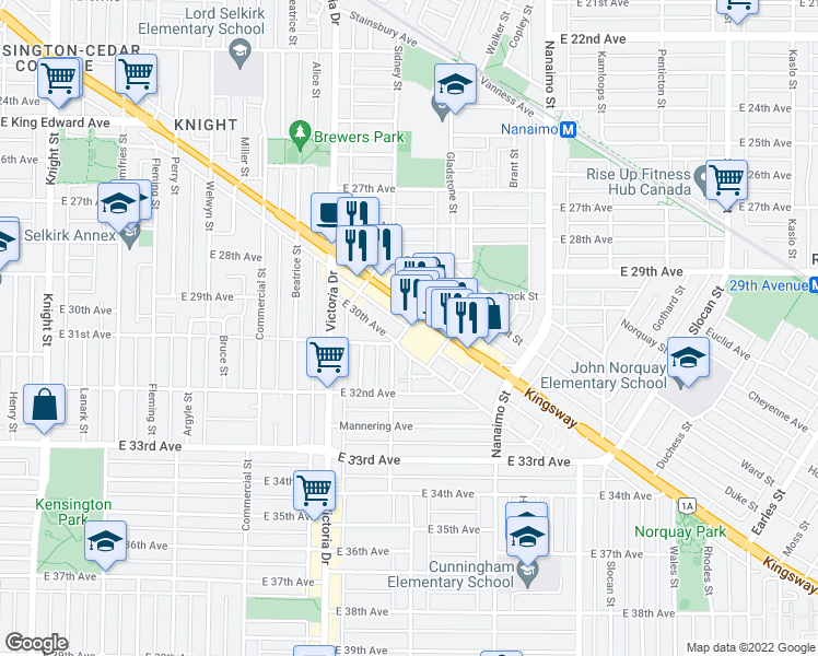 map of restaurants, bars, coffee shops, grocery stores, and more near 4638 Gladstone Street in Vancouver