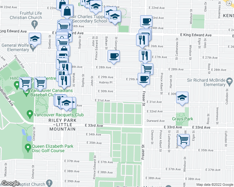 map of restaurants, bars, coffee shops, grocery stores, and more near 502 East 30th Avenue in Vancouver