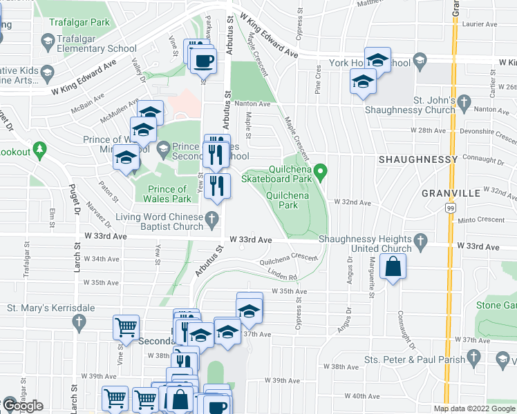 map of restaurants, bars, coffee shops, grocery stores, and more near 4759 Valley Drive in Vancouver