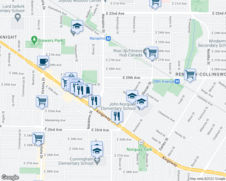 map of restaurants, bars, coffee shops, grocery stores, and more near 2496 Brock Street in Vancouver