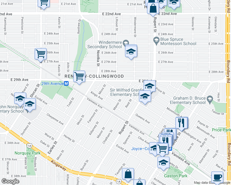 map of restaurants, bars, coffee shops, grocery stores, and more near 3158 Wellington Avenue in Vancouver