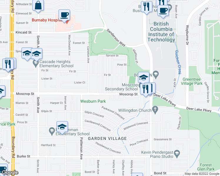 map of restaurants, bars, coffee shops, grocery stores, and more near 4618 Halley Avenue in Burnaby