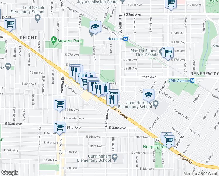 map of restaurants, bars, coffee shops, grocery stores, and more near 4665 Baldwin Street in Vancouver