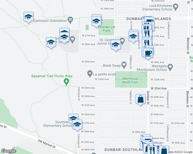 map of restaurants, bars, coffee shops, grocery stores, and more near 4001 West 32nd Avenue in Vancouver