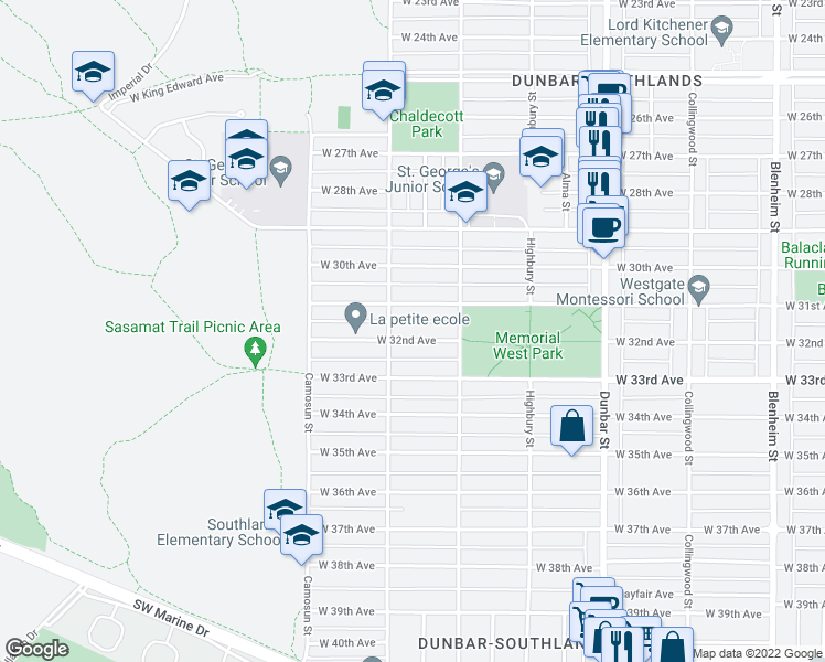 map of restaurants, bars, coffee shops, grocery stores, and more near 3965 West 32nd Avenue in Vancouver